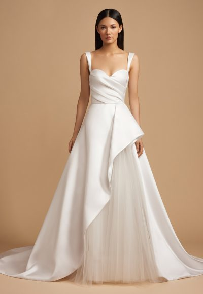Ruched Sweetheart Bodice Mikado Ball Gown Wedding Dress by Allison Webb