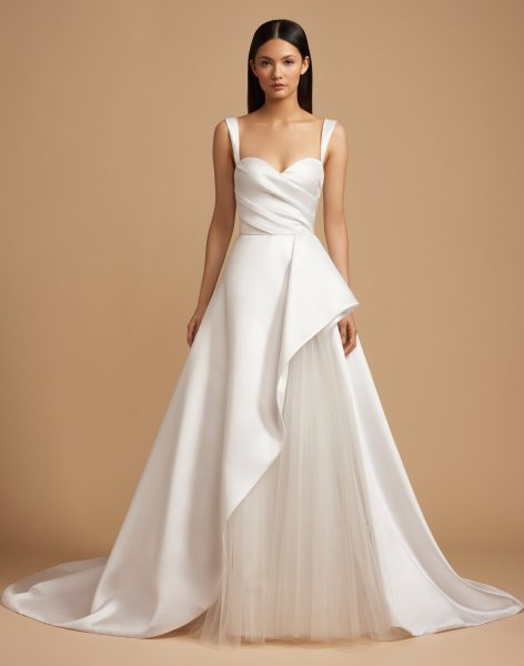 Ruched Sweetheart Bodice Mikado Ball Gown Wedding Dress by Allison Webb - Image 1