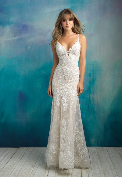 Scalloped V-neck Spaghetti Strap Lace Sheath Wedding Dress by Allure Bridals