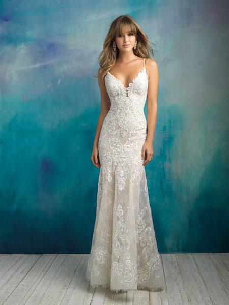 Scalloped V-neck Spaghetti Strap Lace Sheath Wedding Dress by Allure Bridals - Image 1