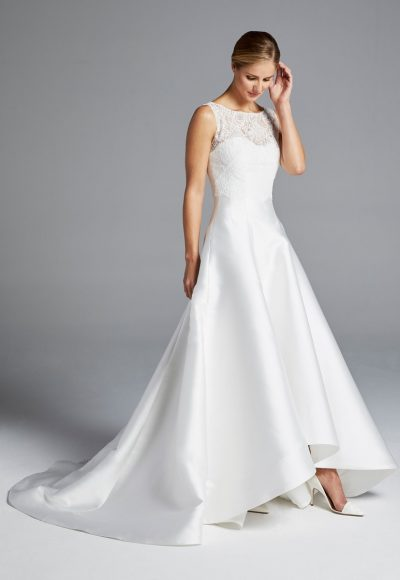 Illusion Sweetheart Neckline Lace Bodice A-line Silk Wedding Dress by Anne Barge
