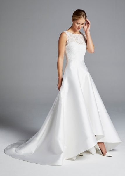 Illusion Sweetheart Neckline Lace Bodice A-line Silk Wedding Dress by Anne Barge - Image 1
