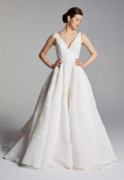 Sleeveless V-neck A-line Wedding Dress by Anne Barge