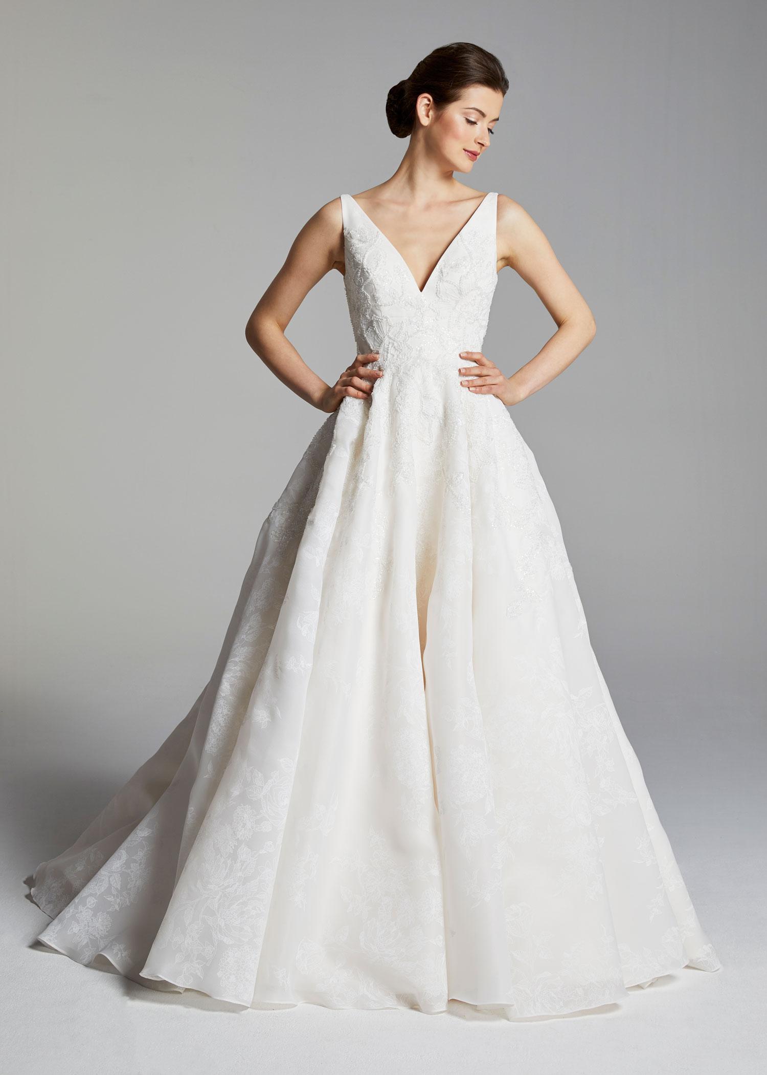 Sleeveless V Neck A Line Wedding Dress Kleinfeld Bridal