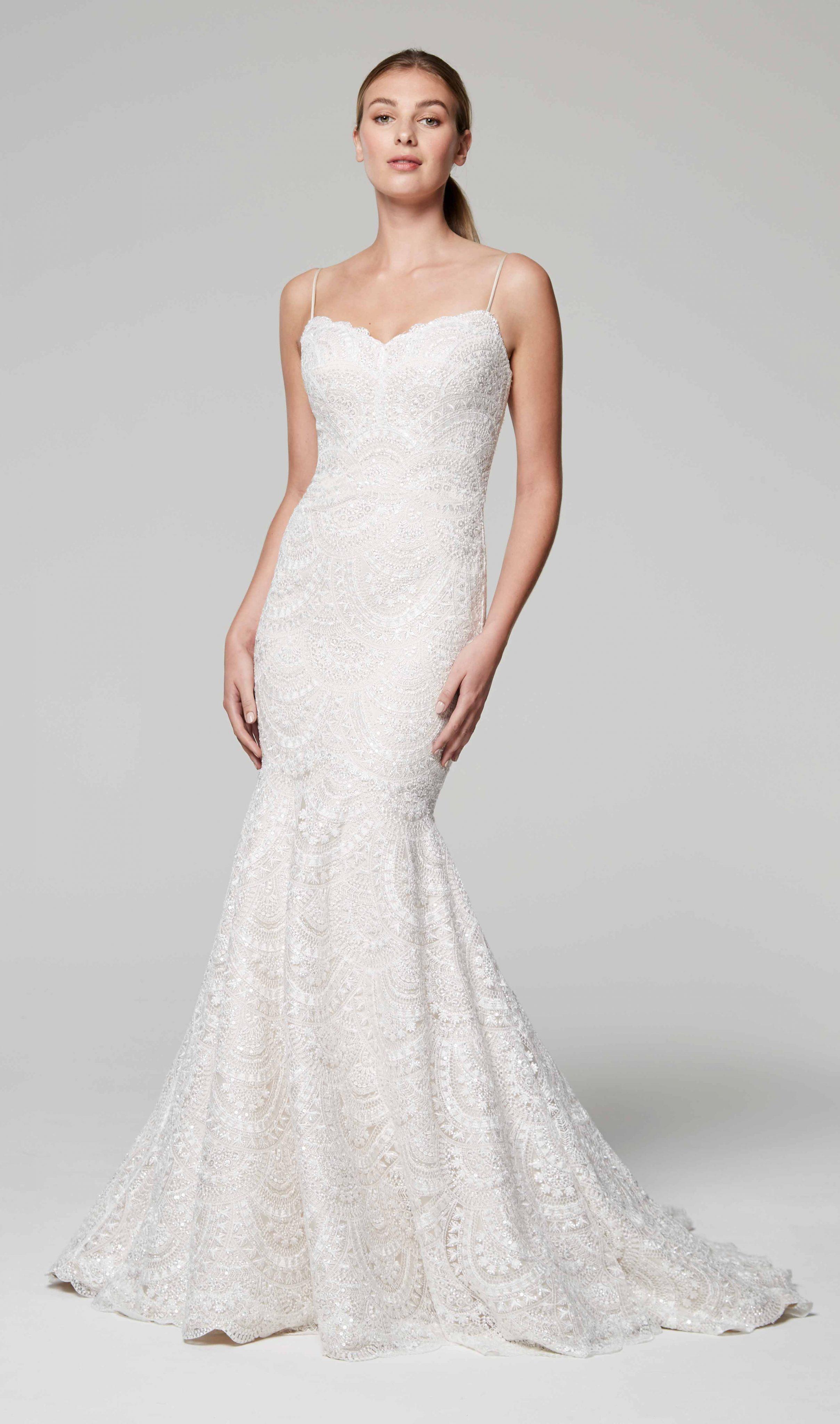 8b0da26b1bf7 Spaghetti Strap Sweetheart Neckline Beaded Mermaid Wedding Dress |  Kleinfeld Bridal