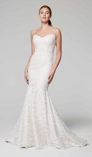 Spaghetti Strap Sweetheart Neckline Beaded Mermaid Wedding Dress by Anne Barge - Image 1