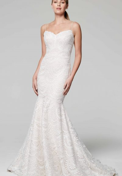 Spaghetti Strap Sweetheart Neckline Beaded Mermaid Wedding Dress by Anne Barge