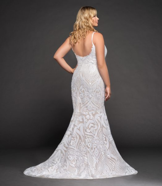 Fully Beaded Spaghetti Strap Fit And Flare Wedding Dress