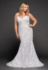 Fully Beaded Spaghetti Strap Fit And Flare Wedding Dress by BLUSH by Hayley Paige - Image 1