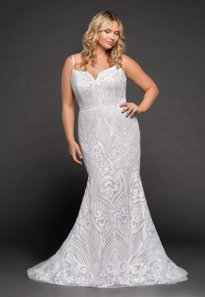 Fully Beaded Spaghetti Strap Fit And Flare Wedding Dress by BLUSH by Hayley Paige