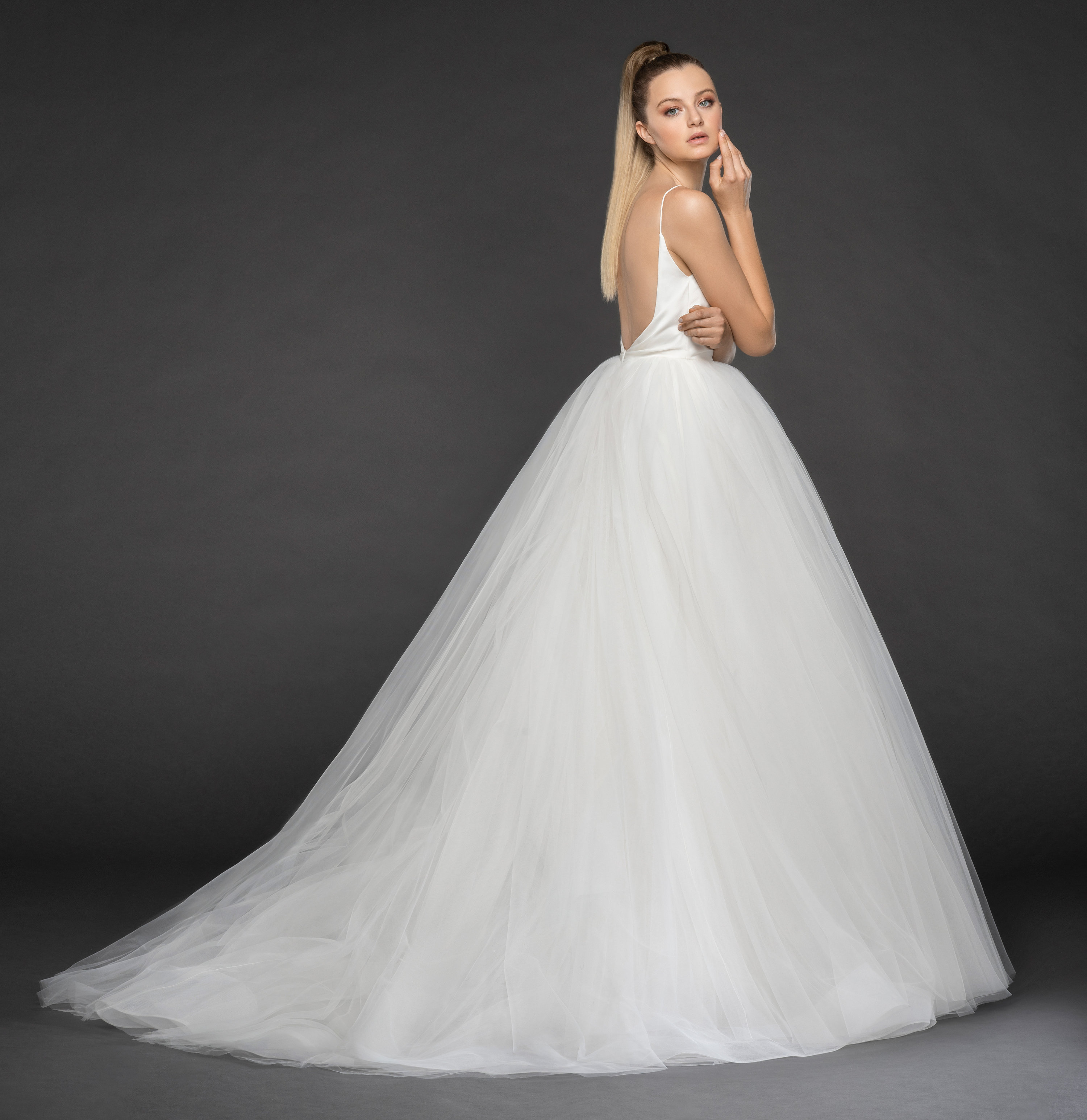 Wedding Gown With Neck Detail: Spaghetti Strap Deep V-neck Ruched Bodice And Tulle Skirt
