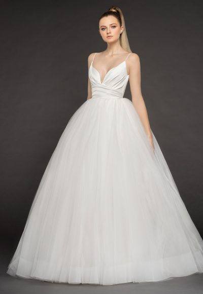Spaghetti Strap Deep V-neck Ruched Bodice And Tulle Skirt Ball Gown Wedding Dress by BLUSH by Hayley Paige