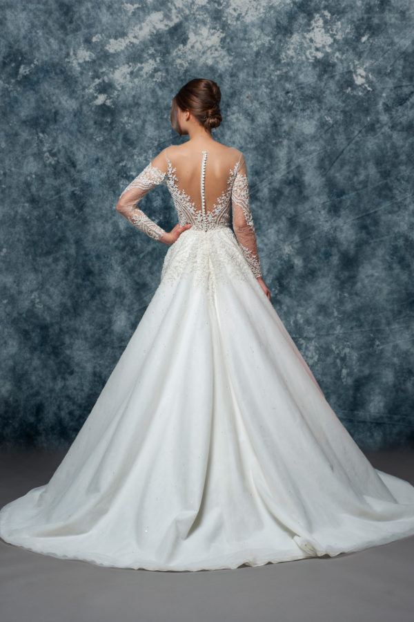 Illusion Off The Shoulder Beaded Lace A-line Wedding Dress by Enaura Bridal - Image 2