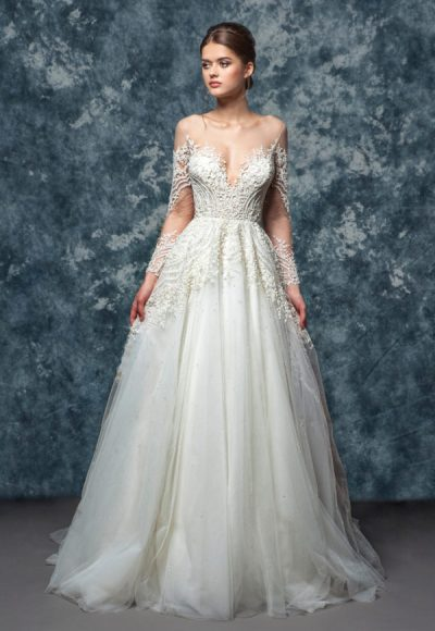 Illusion Off The Shoulder Beaded Lace A-line Wedding Dress by Enaura Bridal