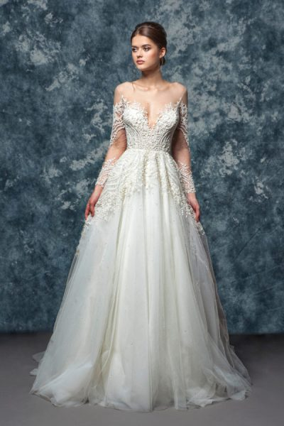 10d617cd3f2a Illusion Off The Shoulder Beaded Lace A-line Wedding Dress by Enaura Bridal  - Image