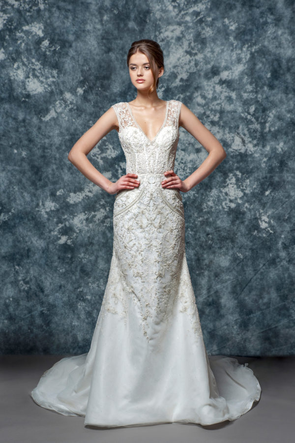 Illusion Sweetheart Beaded Lace Bodice And Skirt Fit And Flare Wedding Dress by Enaura Bridal - Image 1