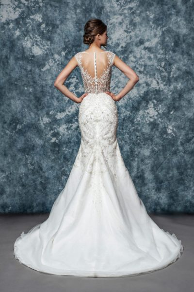 Illusion Sweetheart Beaded Lace Bodice And Skirt Fit And Flare Wedding Dress by Enaura Bridal - Image 2