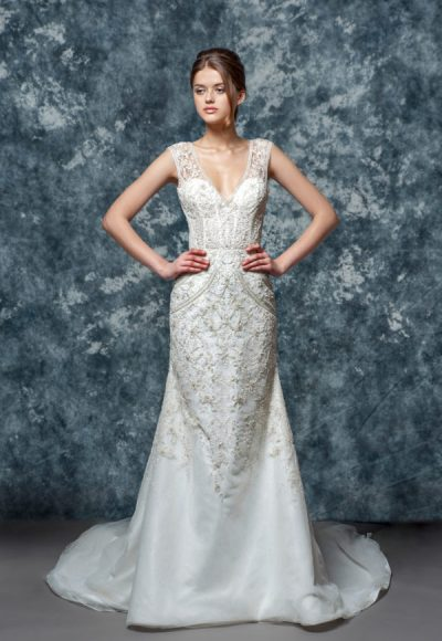 Illusion Sweetheart Beaded Lace Bodice And Skirt Fit And Flare Wedding Dress by Enaura Bridal