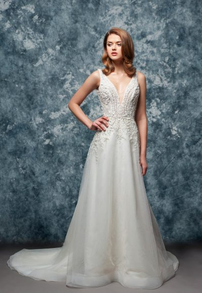 Sleeveless Beaded V-neck Bodice A-line Wedding Dress by Enaura Bridal