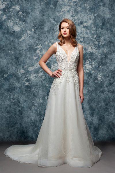 Sleeveless Beaded V-neck Bodice A-line Wedding Dress by Enaura Bridal - Image 1