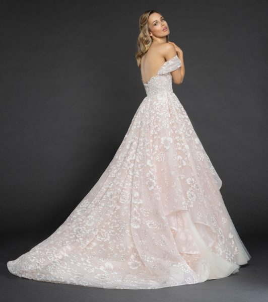 Off The Shoulder Floral Embroidered Ball Gown Wedding Dress by Hayley Paige - Image 2
