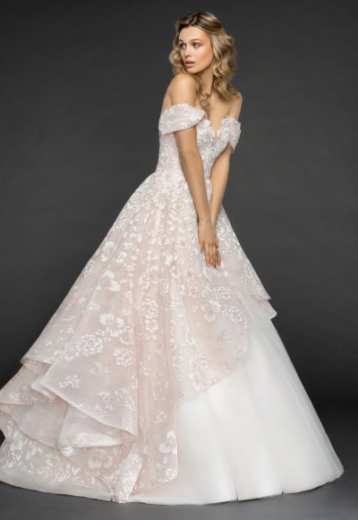 Off The Shoulder Floral Embroidered Ball Gown Wedding Dress by Hayley Paige