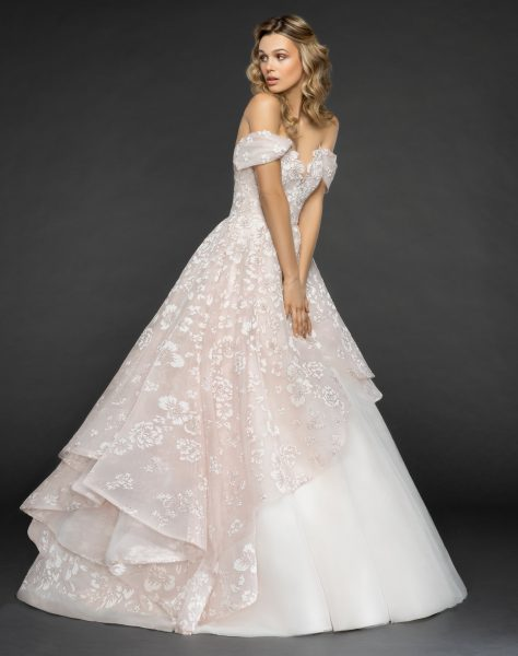 Off The Shoulder Floral Embroidered Ball Gown Wedding Dress by Hayley Paige - Image 1