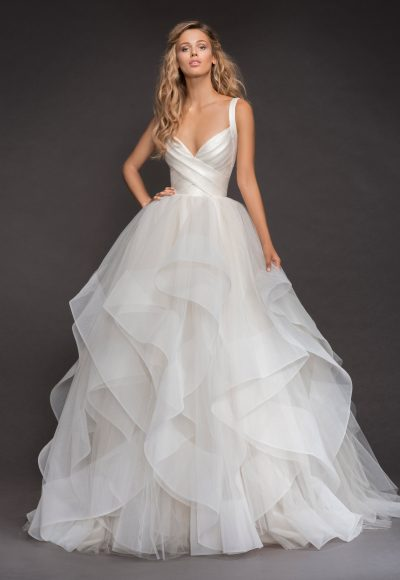 Sleeveless Bandage Bodice Horsehair Trip Skirt Ball Gown Wedding Dress by Hayley Paige
