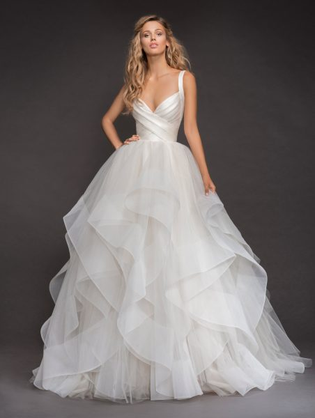 Sleeveless Bandage Bodice Horsehair Trip Skirt Ball Gown Wedding Dress by Hayley Paige - Image 1