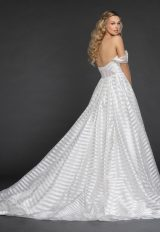 Striped Organza Off The Shoulder Ball Gown Wedding Dress by Hayley Paige - Image 2