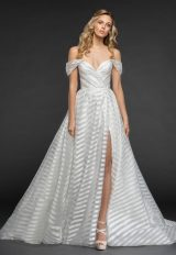Striped Organza Off The Shoulder Ball Gown Wedding Dress by Hayley Paige - Image 1