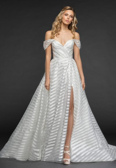 Striped Organza Off The Shoulder Ball Gown Wedding Dress by Hayley Paige