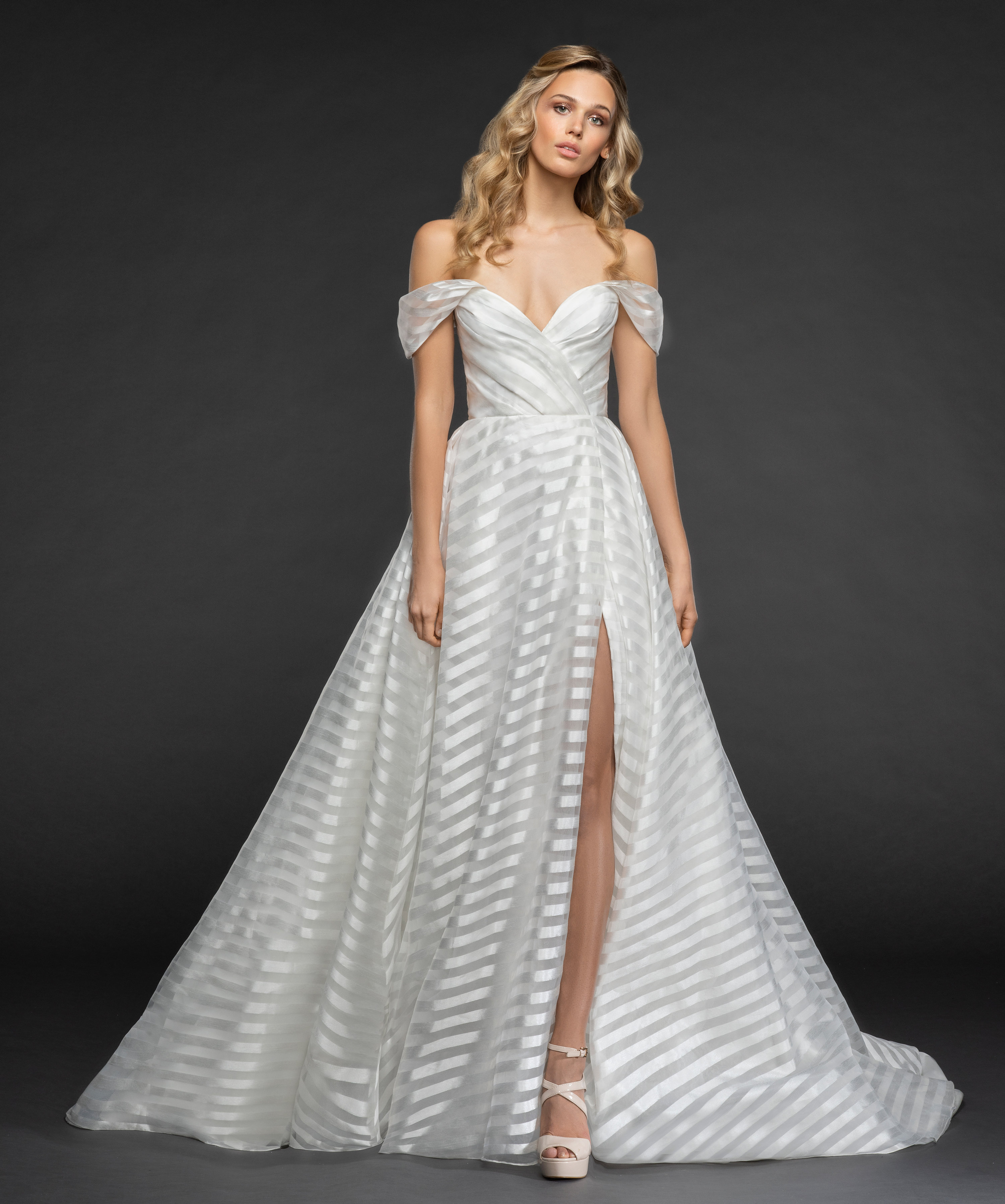 Striped Organza Off The Shoulder Ball Gown Wedding Dress