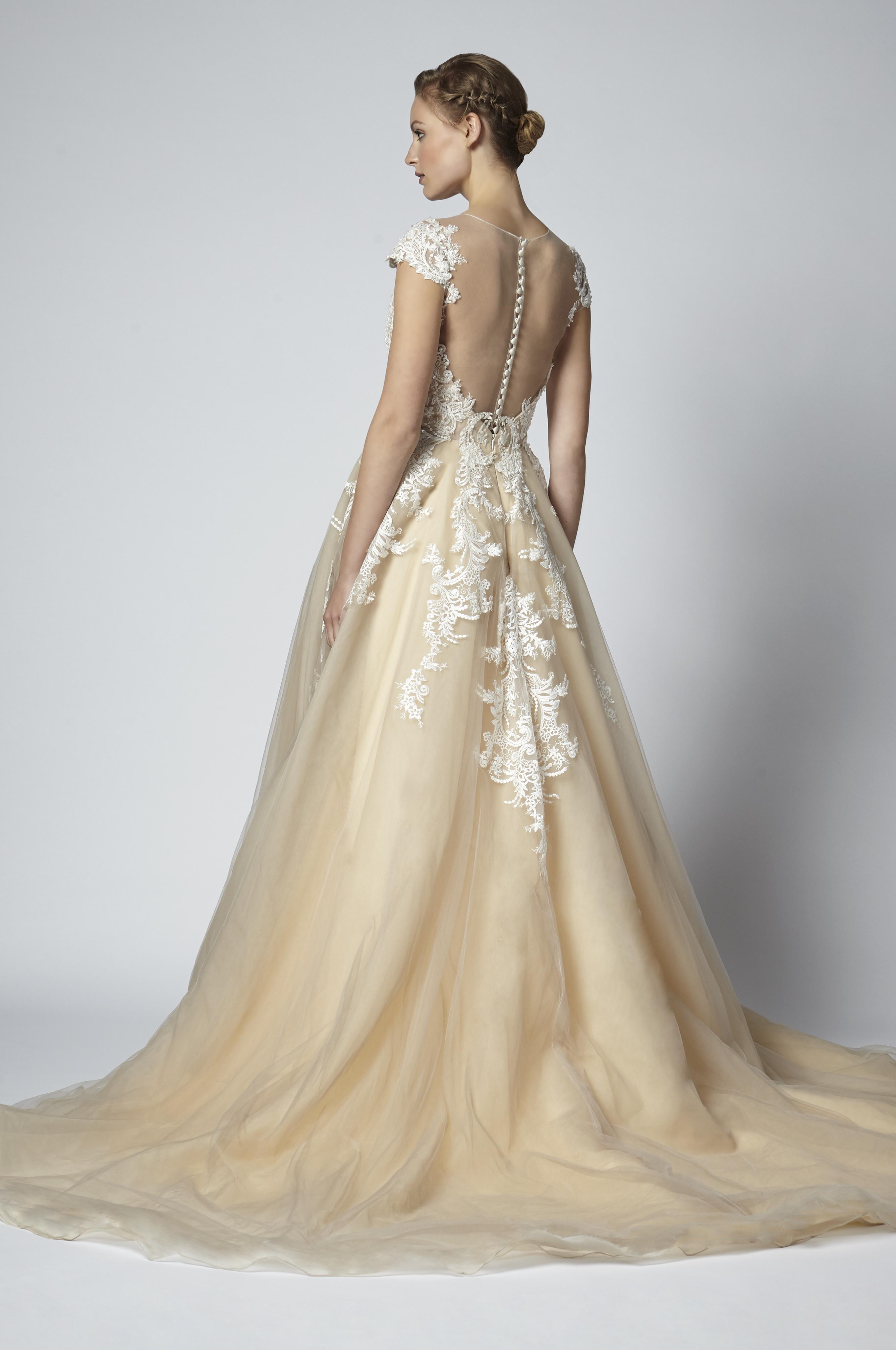Bateau Neck Low Back Lace Detailed A Line Wedding Dress Kleinfeld Bridal