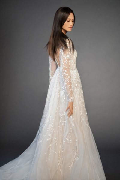 Long Sleeve Floral Design Illusion Sweetheart A-line Wedding Dress by Lazaro - Image 2