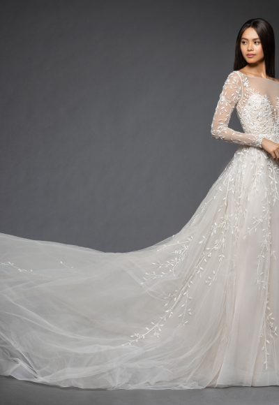 Long Sleeve Floral Design Illusion Sweetheart A-line Wedding Dress by Lazaro