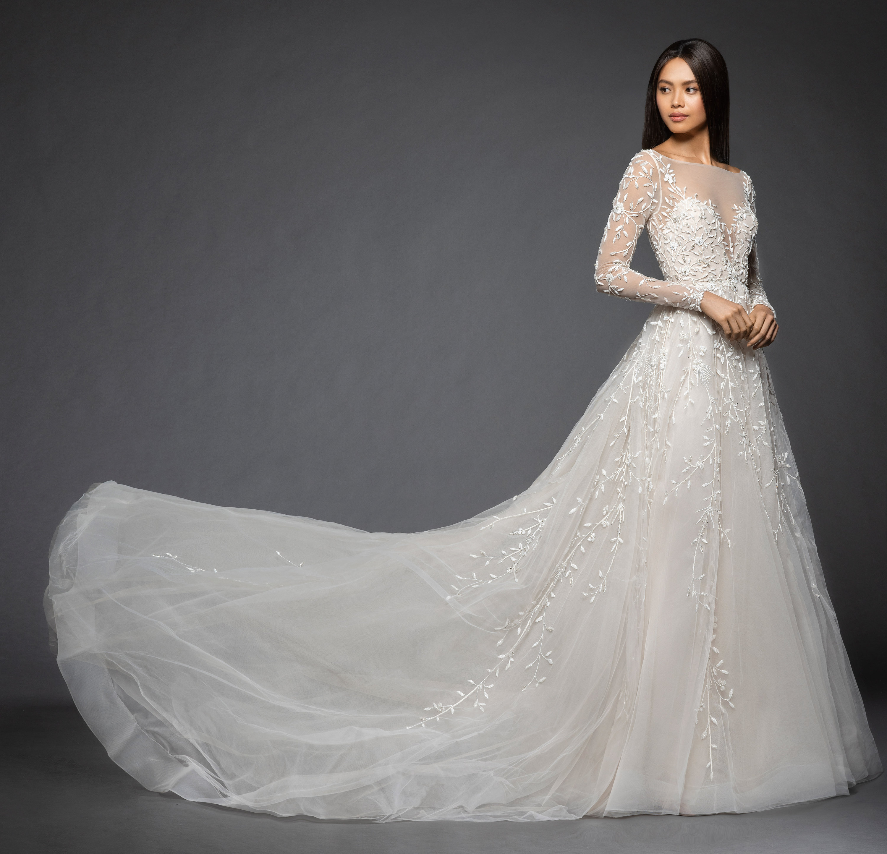 Floral Wedding Dress: Long Sleeve Floral Design Illusion Sweetheart A-line