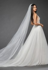 Sleeveless Deep V-neck Beaded Floral Bodice Tulle Skirt A-line Wedding Dress by Lazaro - Image 2