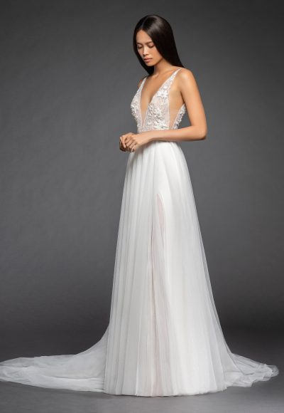 Sleeveless Deep V-neck Beaded Floral Bodice Tulle Skirt A-line Wedding Dress by Lazaro