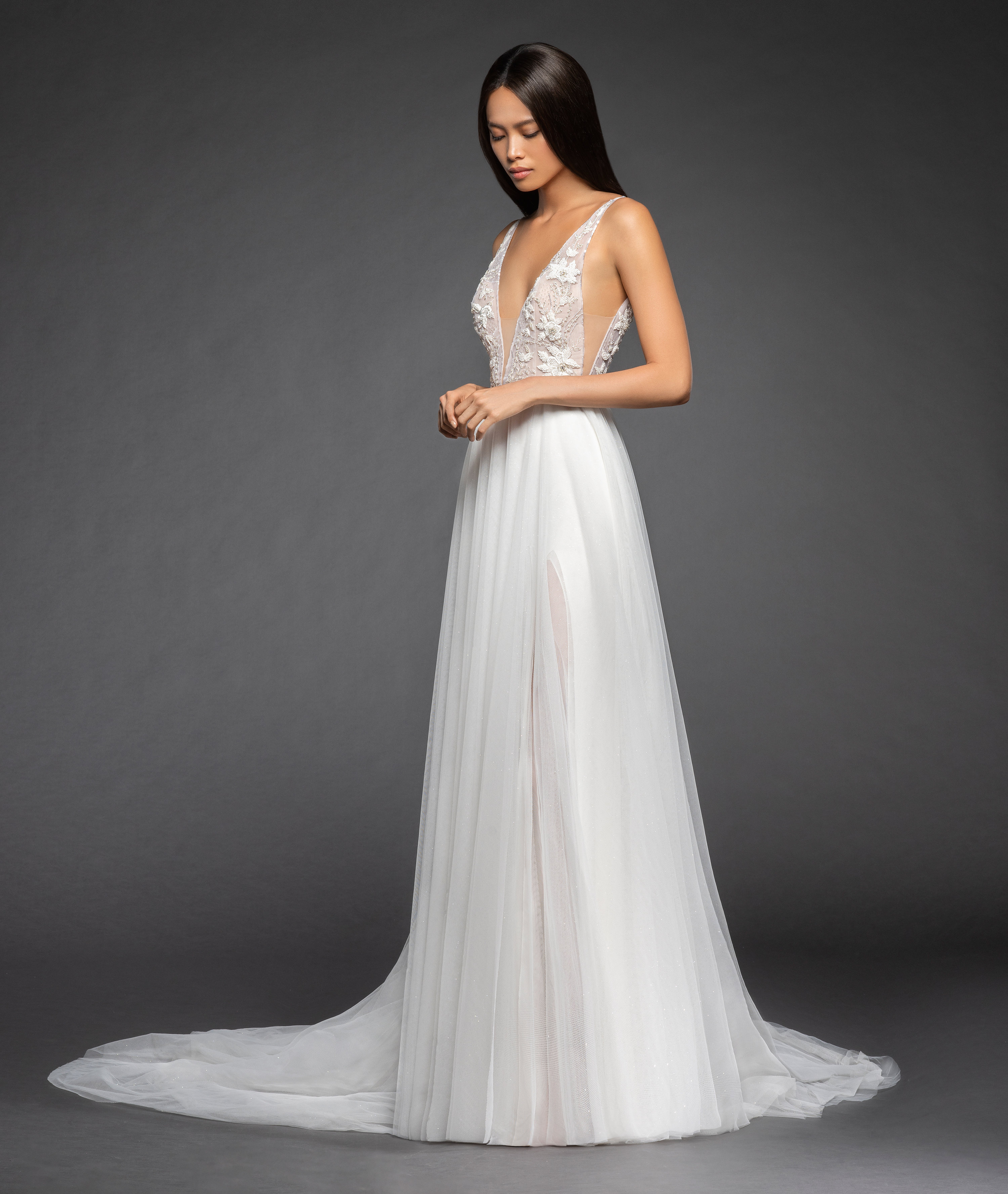 Wedding Gown With Neck Detail: Sleeveless Deep V-neck Beaded Floral Bodice Tulle Skirt A