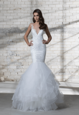 Sleeveless Illusion V-neck Lace Mermaid Wedding Dress by Love by Pnina Tornai - Image 1