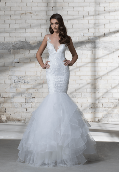 Sleeveless Illusion V-neck Lace Mermaid Wedding Dress by Love by Pnina Tornai