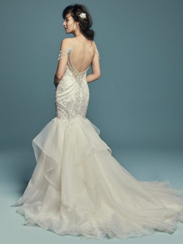 Beaded Cold Shoulder Sweetheart Neckline Fit And Flare Wedding Dress by Maggie Sottero - Image 2