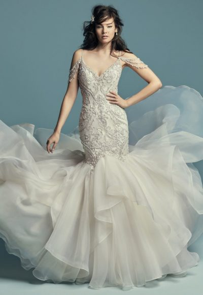 Beaded Cold Shoulder Sweetheart Neckline Fit And Flare Wedding Dress by Maggie Sottero
