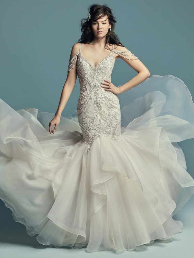 Beaded Cold Shoulder Sweetheart Neckline Fit And Flare Wedding Dress by Maggie Sottero - Image 1