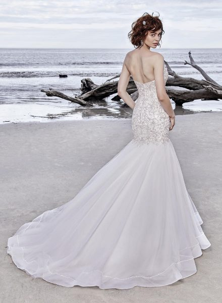 6805e10428cb Cap Sleeve Sweetheart Neck Beaded Bodice Mermaid Wedding Dress by Maggie  Sottero - Image 2