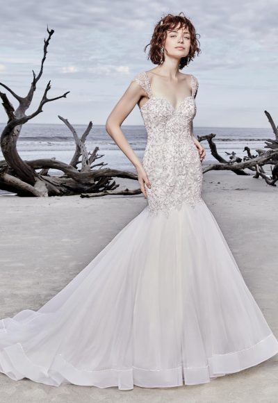 Cap Sleeve Sweetheart Neck Beaded Bodice Mermaid Wedding Dress by Maggie Sottero