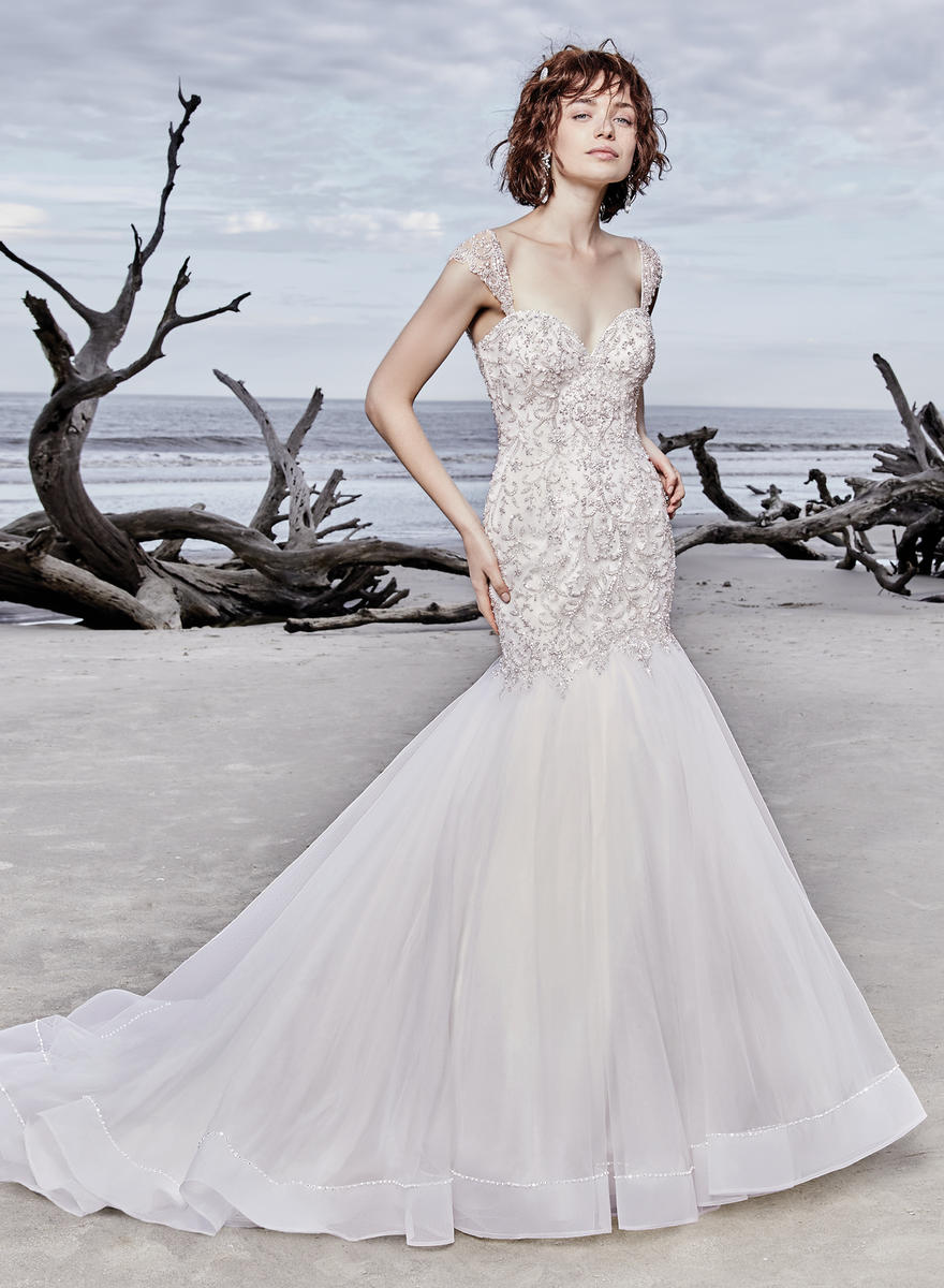 0958ef966fbe Cap Sleeve Sweetheart Neck Beaded Bodice Mermaid Wedding Dress | Kleinfeld  Bridal