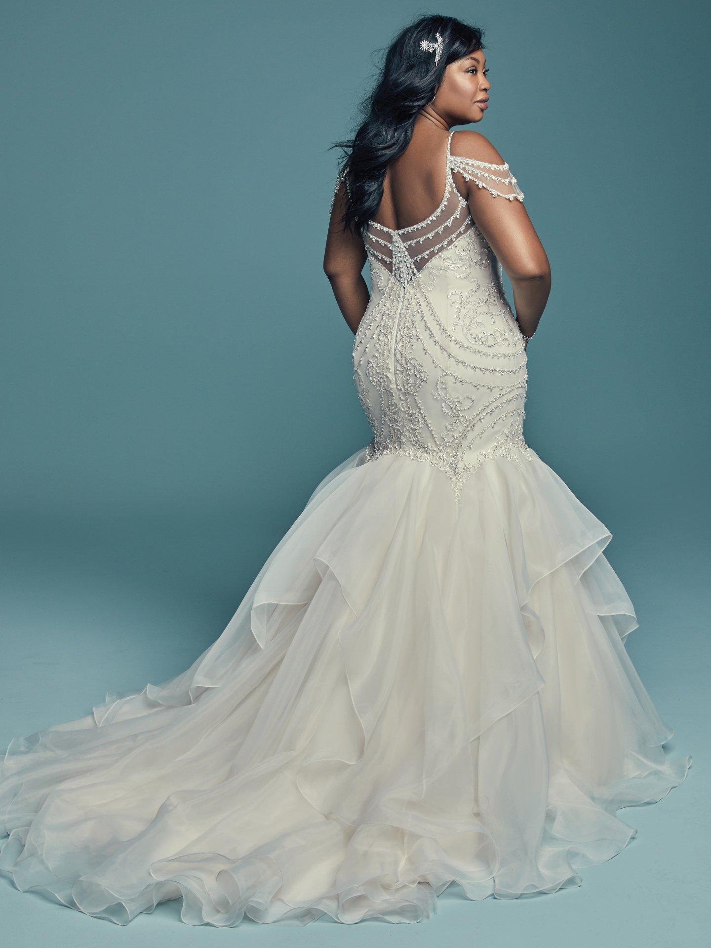 76a7fb1afb Cold Shoulder Sweetheart Neckline Beaded Bodice Organza Skirt Mermaid  Wedding Dress