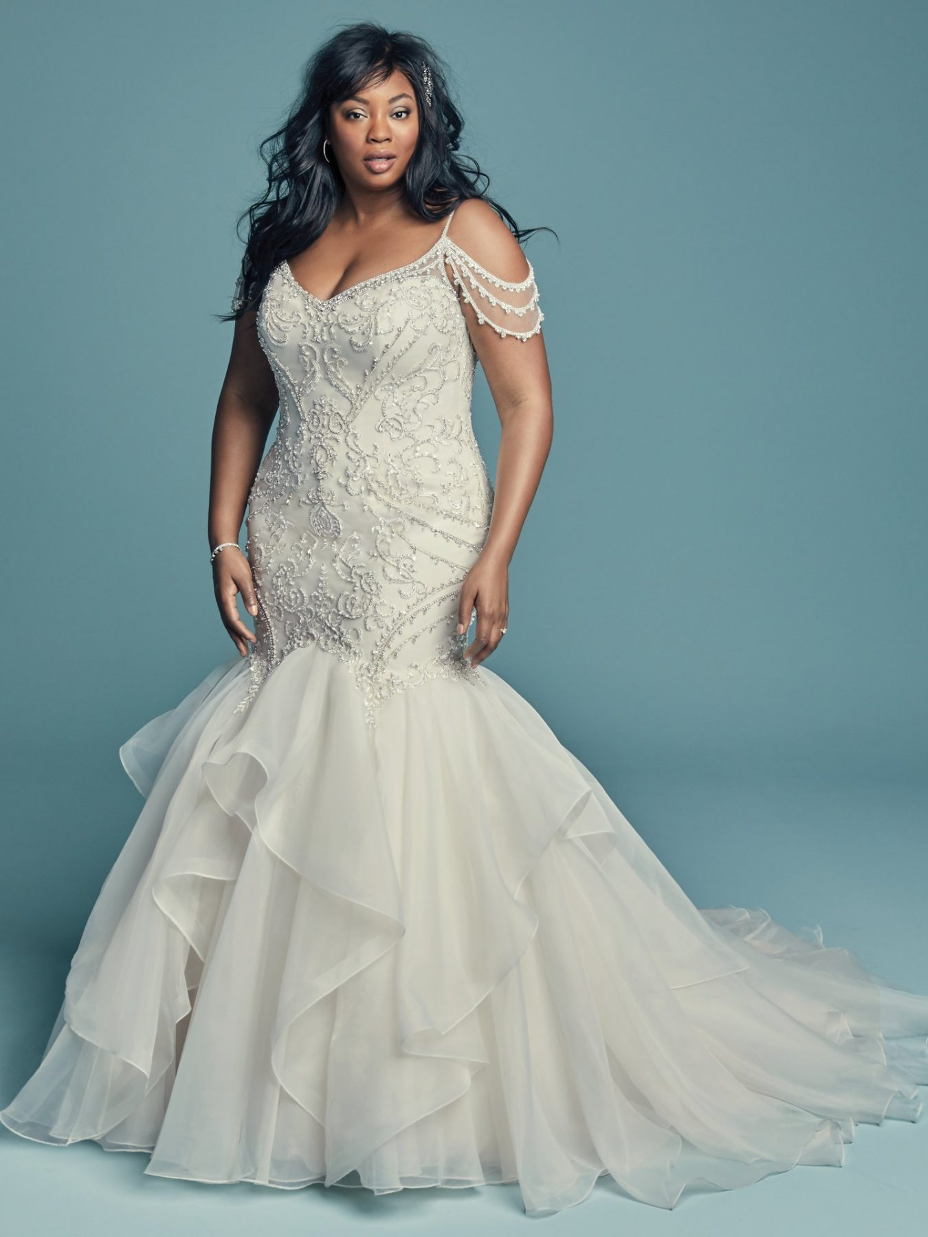 Mermaid cut plus size wedding dress with layered flare skirt